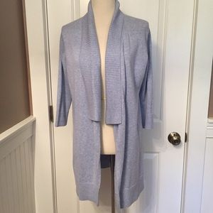 EILEEN FISHER SWEATER CARDIGAN OPEN BLUE COTTON M